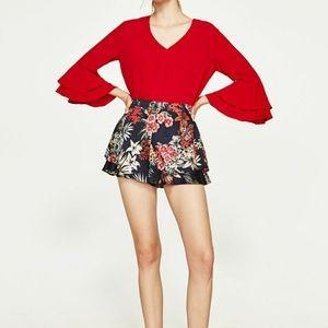Zara Women Red Frilled top